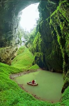 Entrance to Macocha Propast Abyss in Vyvery Punkvy Nature Reserve, Czech Republic ~