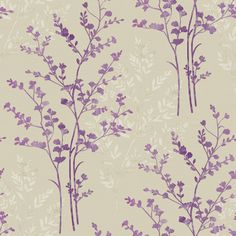 Arthouse Fern Motif Wallpaper in Purple, Beige and Cream - http://www.godecorating.co.uk/arthouse-fern-motif-wallpaper-purple-beige-cream/