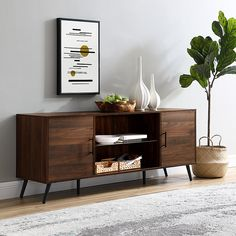 Shop Walker Edison Mid Century Modern TV Stand Cabinet for Most TVs Up to Dark Walnut at Best Buy. Find low everyday prices and buy online for delivery or in-store pick-up. Mid Century Modern Living Room, Mid Century Modern Decor, Mid Century Modern Cabinet, Mid Century Console, Living Room Tv, Home And Living, Dining Room, Tvs, Tv Console Modern