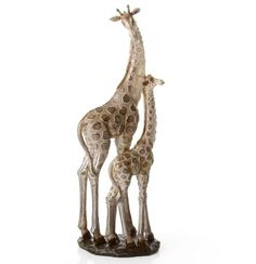 Madre y cría de Jirafas Resina Color Oro 15x10,5x45 cm.
