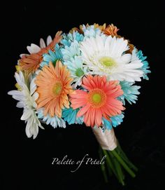 Palette of Petals bouquet of Coral Gerber Daisies, White Daisies, Turquoise DaisyMums