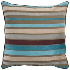 """18"""" Bright and Vibrant Brown and Teal Striped Decorative Throw Pillow"""