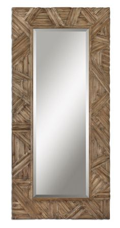 "Tehama Large Beveled Rectangular Wood Wall Floor Mirror XL 89"" Horchow 