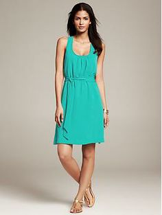 Belted Twist-Strap Dress | Banana Republic