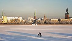 Riga, Daugava l winter Riga, Old Town, Dolores Park, Louvre, Building, Winter, Travel, Construction, Winter Season