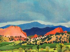 Impression Evergreen: Garden of the Gods Pikes Peak - Colored Pencil Drawing