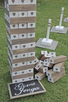 wedding games An extra large giant Jenga lawn game, real Jenga- no gaps. Starts at and builds up to Comes in crates- use a crate to stack jenga on if the lawn is uneven. Wedding Yard Games, Jenga Wedding, Outdoor Wedding Games, Wedding Games For Guests, Wedding Reception Games, Wedding Hire, Wedding Rentals, Our Wedding, Wedding Ideas