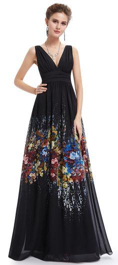 v-neck floral long prom dress