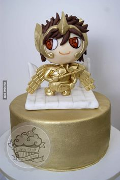 """Saint Seiya Sagittarious Aiolos cake made w/ 100% edible topper! I´m very proud of this one! 15cm tall (6"""")!"""