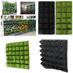 18/ 36 Pockets Outdoor Vertical Greening Hanging Wall Garden Plant Bags Planter
