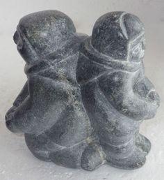 Inuit-Eskimo-Art-soapstone-Carving-TWINS-5-x-4-x-3-82-syllabics-I-VI