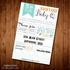 Printable Backyard BaBy-Q Couple's Baby Shower Invitation on Etsy, $20.00