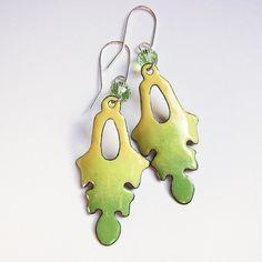 Yellow green leaf earrings enamel jewelry by OxArtJewelry on Etsy, $44.00