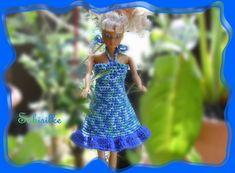 Puppenkleidung - Minikleid mit  Rüsche *** für Barbie *** blau - ein Designerstück von Sabisilke bei DaWanda