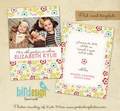 Birth announcement template  Sisters and Joy  E312 by birdesign, $8.00