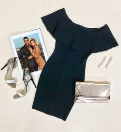 Achieve an on-trend night-out look in this off-the-shoulder bandage dress featuring scalloped trim detail and a figure-hugging fit | MARCIANO.com