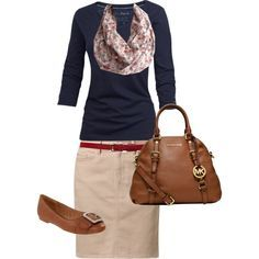 20 Fall Outfits for Inspiration   Brown Belt, Khakis and Pencil