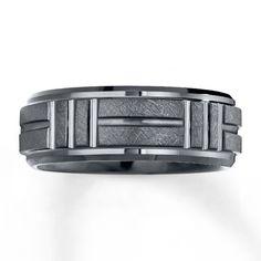 Wedding Band Black Tungsten Carbide 8mm