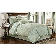 "7-Piece Celina Comforter Set - ""tonal and metallic fluid lines ... intertwine on the pale sea green"""