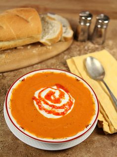 Carrot and Red Pepper Soup with Sour Cream and Red Pepper Coulis