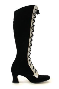 1960s velvet boots with silver tongue