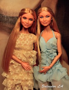 https://flic.kr/p/os8KtY | Mary-Kate and Ashley Olsen Barbie dolls | Mary-Kate and Ashley Olsen Barbie doll customs   Reroots #145 and #146, as well as Poppy bodies and repaints.