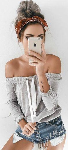 summer outfit idea: off shoulder top + shorts