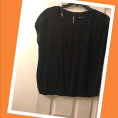 Black Blouse ✨REDUCED✨ Black Blouse with beautiful detail on the shoulders. This fits like a Large. a.n.a Tops Blouses