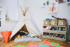 Eclectic Play Area with Teepee in Boy's Room