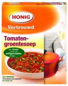 Honig Tomaten-groentesoep is een heerlijke, lichtgebonden tomatensoep, gevuld met fijne groenten en vermicelli.  #Honig