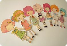 These paper dolls are so cute!   Collection of Seven ColourYourOwn Paper Dolls by Gingermelon, 6.00