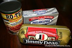 "My dad started making this and Michael and I LOVE it, we eat it all the time with 'scoops"" chips. 1 package Jimmy Dean HOT sausage, 2 packages of 8oz cream cheese, and one can original Rotel. Brown sausage and put all ingredients in Crock Pot until cream cheese is melted an all ingredients are combined. SO GOOD!"