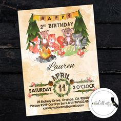 Woodland Forest Animal Birthday Party Invitation by socalcrafty. Printed or Printable. $16+
