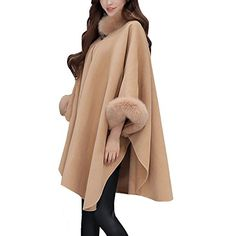 Womens Luxury Fashion Winter Loose Woolen Cape Coat Luxury with Faux Fur Collar *** Want to know more, click on the image. (This is an affiliate link)