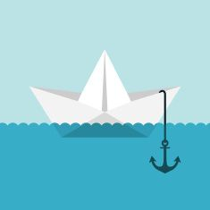 Paper boat vector art illustration