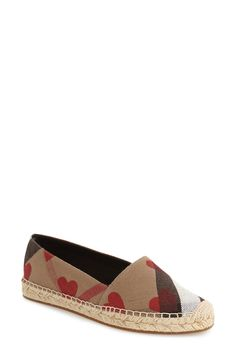 Burberry 'Hodgeson' Check Print Espadrille Flat (Women) | Nordstrom