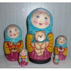 Vanna & Teddy-Bear #Babushka #russiandoll #matryoshka #dollsindolls #decor #traditional
