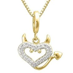 """18k Gold Over Sterling Silver Clear Cubic Zirconia """"Devil"""" Heart Pendant Necklace, 18"""" Amazon Curated Collection. $29.00. Made in China"""