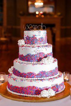 Sprinkle Wedding Cake with Pink and Blue Sprinkles | Brides.com