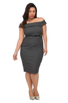 Retro Chic By Torrid - Grey Off-Shoulder Belted Dress | Dresses