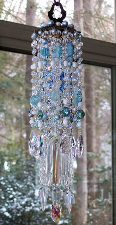 double love....on hold Sky Blue Antique Crystal Wind Chime. $179.95, via Etsy.