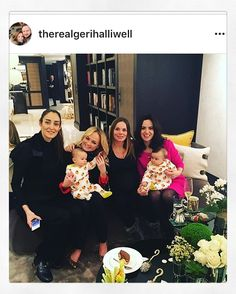 Geri Halliwell Horners babyshower with Emma Bunton and Sally Wood's daughter in their Lil' Cubs sleepsuits  #babygrow #twins #spicegirls #rollingstones