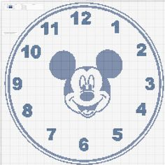 Dibujos Punto de Cruz Gratis: Reloj Mickey Mouse clock - Cross ...