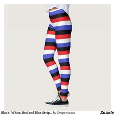 Black, White, Red and Blue Stripes Leggings #leggings #yogapants #workout #fitness #pilates #spandex #fashion