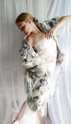 """Poetry of Wild"" Nuno felted kimono coat: wool, silk, flax felt. via viltefelt flickr (vilte.net)"
