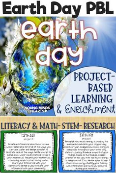These Earth Day themed project-based learning and enrichment projects put ownerhsip of learning into your student's hands and enrich your students through independent work study. Engage your classroom during your Earth Day unit with these ten printables t