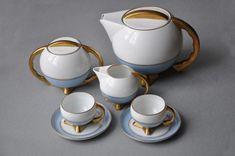"""Serwis do mokki """"Kula"""", proj. Bogusław Wendorf, 1932, Ćmielów, Fabryka Porcelany, porcelana malowana, złocona"""