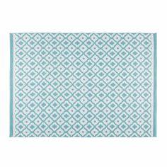 Outdoor-Teppich mit weißen und blauen geometrischen Motiven 140x200cm JANE