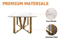 """Modern Rectangle 63"""" Faux Marble Dining Table Gold Base Stainless Steel - Dining Tables - Dining Room & Kitchen Furniture - Furniture Modern Dinning Table, Faux Marble Dining Table, Stainless Steel Dining Table, Dining Room Table, Dining Area, Room Kitchen, Kitchen Furniture, Kitchen Design, Interior Decorating"""