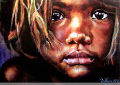 Superb portrait of an indigenous Australian child by Chilean artist Christian Dittus Benavente. (Acrylic 195cm x 130cm)